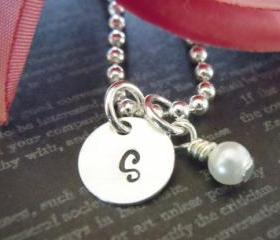 Hand Stamped Jewelry-Monogram Necklace-Little Girls Gift-Flower Girl Gifts-Single Initial with Pearl