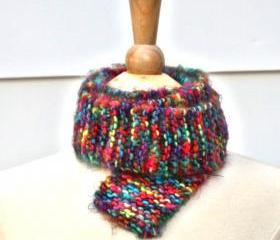 Knit rainbow skinny scarf soft plush warm long winter