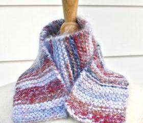 knit scarf - soft - warm handmade red, white, blue winter