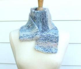 knit scarf warm winter tan blue white soft plush warm