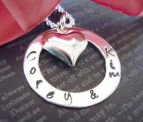 Wedding-Gift-Bride and Groom-Personalized Hand Stamped Jewelry-Heart Charm-Wedding Keepsake