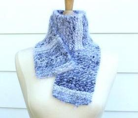 Knit scarf warm winter white black gray grey soft, plush
