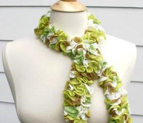 knit scarf - scarflette cowl lime green tan white ruffle