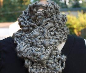 Knit scarf steel gray grey wool blend thick thin warm