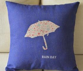 Rain Day Print Decorative Pillow