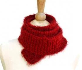 knit red skinny scarf soft warm plush long winter