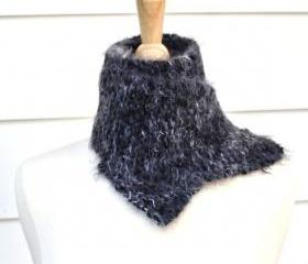 knit scarf black white winter soft plush warm