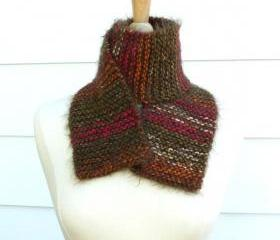 Knit scarf winter warm brown red green soft plush