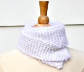 Knit scarf white skinny super soft plush warm long winter