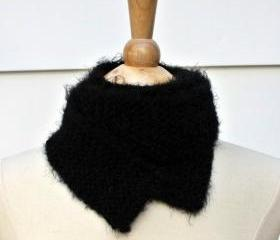 knit scarf black winter skinny soft plush warm long