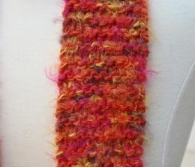 Knit scarf - skinny - winter orange soft plush warm long