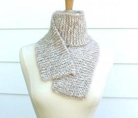 Knit scarf - soft - warm - tan white winter plush