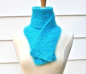 knit scarf - soft - warm - aqua blue winter plush