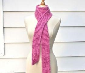 knit scarf - soft - warm handmade pink skinny winter