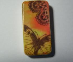 Orange Butterflies are Free /domino Pendant