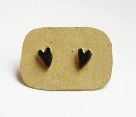 on SALE - Black Heart Ear Stud Earrings - Gift under 10