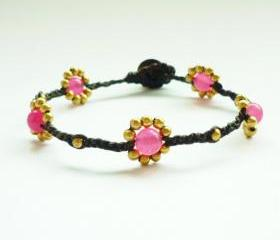 Pink Daisy - Small Gold Flower with Pink Stone Bead Wax Cord Bracelet - Customized Bracelet - Gift under 10