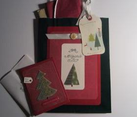 Handmade Christmas Gift Bag with Tags and Tissue and Matching Greeting Card
