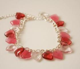 Pink hearts charm bracelet.