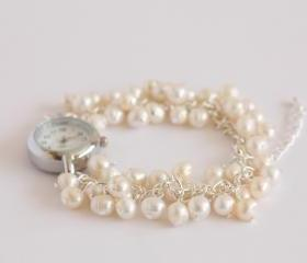 Ivory freshwater pearl bridal watch bracelet, June birthstone watch.