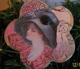 Lovely Lady Wooden Ornament #5