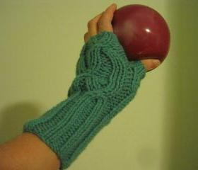 Knit fingerless mittens for women - -aqua (G7)