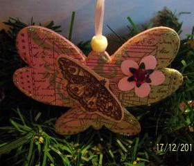 Butterfly Shaped Wooden Ornament #12