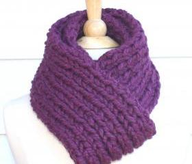 knit scarf - soft winter scarf - plum purple - thick warm