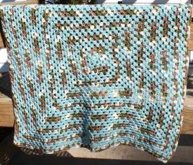 Crochet baby blanket granny square teal blue brown