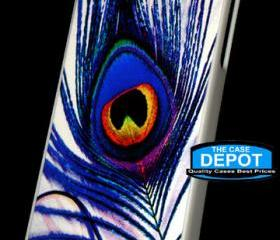 iPhone 4 / 4S Royal Blue Colorful Peacock Feather Hard Case