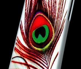 Bright Red Colorful Peacock feather iPhone Hard Case. Will Fit iPhone 4 and iPhone 4S