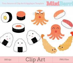 Digital Clip Art - Japanese Bento Food - 300dpi