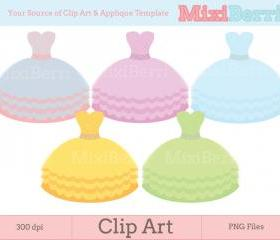 Digital Clip Art - Pastel Gowns - 300dpi