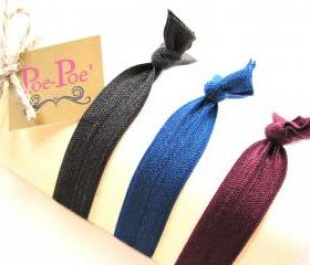 Stackable Elastic Bracelets, Hair Ties, Brown, Navy Blue, Maroon