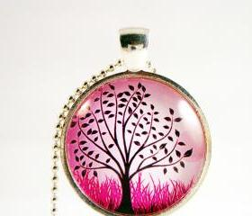 Tree glass pendant necklace