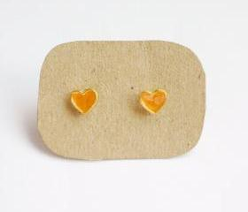 on SALE - Lil Lovely Orange Heart Stud Earrings - 6 mm - Gift under 10