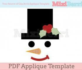 Snowman Face Applique Template PDF