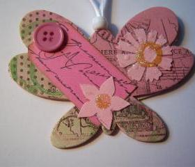 Wooden Pink Ornament #13