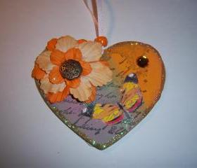 Heart Shaped Wood Ornament #15