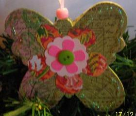 Butterfly Shaped Wooden Ornament #17