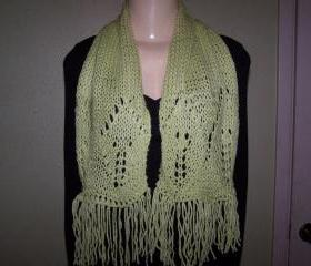 Hand Knitted Green Scarf/Neck Warmer