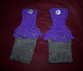 Purple and Gray Fingerless Gloves