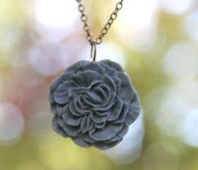 Slate Blue Gray Peony Flower Necklace // Bridesmaid Gifts // Bridesmaid Necklaces // Country Vintage Wedding // Maid of Honor Gifts