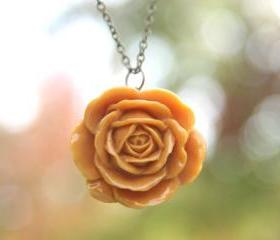 Goldenrod Yellow Gold Rust Rose Flower Necklace // Bridesmaid Gifts // Maid of Honor Gifts // Country Rustic Wedding