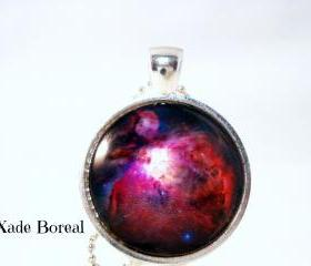 Red universe-glass pendant necklace,Galaxy series
