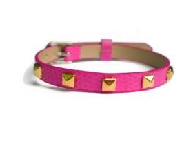 Gold Studded Leather Bracelet - 5mm Gold Tone Pyramid Studs - 8mm Pink Strap - Adjustable