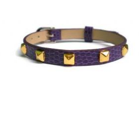 Gold Studded Leather Bracelet - 5mm Gold Tone Pyramid Studs - 8mm Purple Strap - Adjustable
