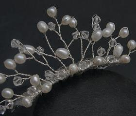 Wedding Tiara Comb - Small - Clear Swarovski Crystals and Freshwater Pearls - Bridal Hair Accessories