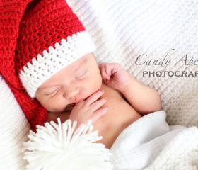 Santa's Little Elf hat and pompom bootie set, stocking hat, newborn or 3-6 months