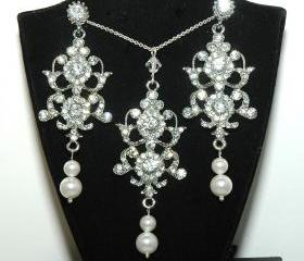 Bridal Necklace and Earrings Set - fashion jewelry - Wedding Rhinestone Necklace Set